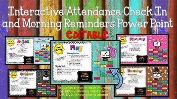 Interactive Attendance Check In and Morning Reminders Power Point  **Editable
