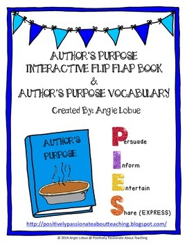 Interactive Author's Purpose Flip Book and Author's Purpose Vocabulary Resource