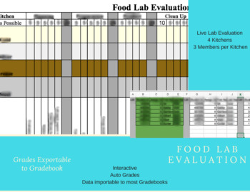 Interactive Auto Grading Auto Populating Food Lab Eval for 4 Kit. 3 Roles 6 Labs