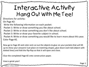FREEBIE! Interactive Back to School Flip-Flap Activity