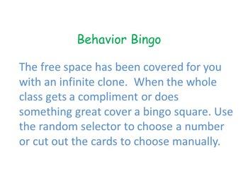 Interactive Behavior Bingo Cards