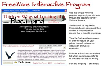 Interactive Blackbird (Wallace Stevens Poem)