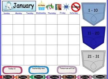 Interactive Board- Monthly Calendars (holidays and birthdays included!)