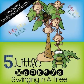 Interactive Book: 5 Little Monkeys Swinging In A Tree