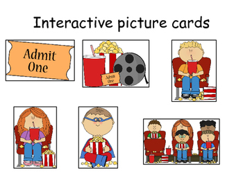 """""""POPCORN AT THE MOVIES!"""" INTERACTIVE BOOK- ACTIONS/PRONOUNS"""