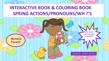 """ACTIONS & WH ?'S"" INTERACTIVE BOOK with matching coloring"