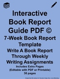 Interactive Book Report Guide PDF Light Blue