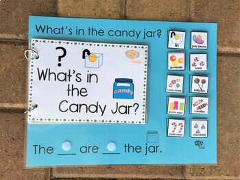 """""""IN"""" Interactive Book + Sentence Formulation Candy Theme, Autism, Speech"""