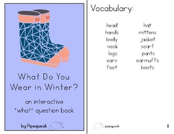 Interactive Book:  What Do You Wear in Winter?