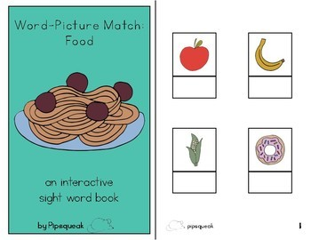 Interactive Book:  Word to Picture Match - Food
