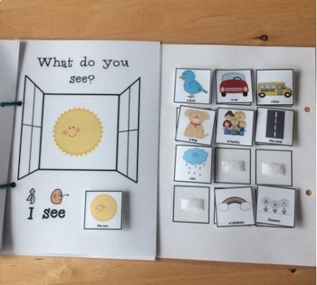 Interactive Book for 'I see' PECS comments - What do you see in the window?