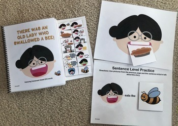 Interactive Books for Apraxia Bundle There Was an Old Lady Who Swallowed CVCV CV