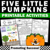 Five Little Pumpkins Activity, Halloween Literacy Centers, Special Education