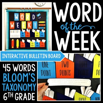 Interactive Bulletin Board NEON THEME: Word of the Week for 6th Grade