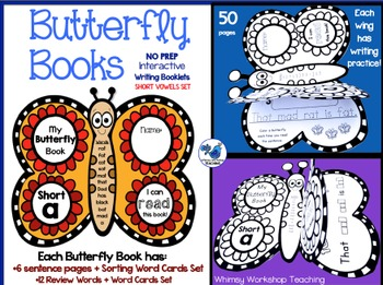 Interactive Butterfly Books (Short Vowels) Whimsy Workshop