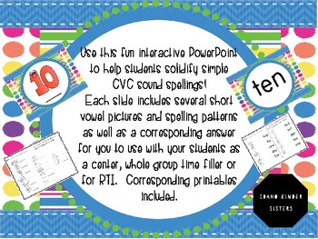 Interactive CVC spelling patterns for the vowels PowerPoint and Printables