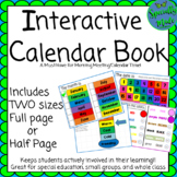 Interactive Calendar Book Full & Half Page Morning Meeting colors days months