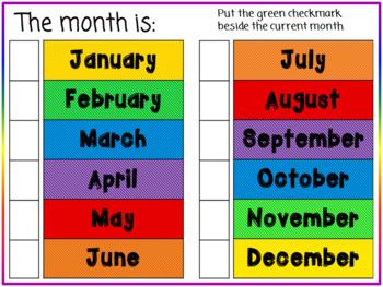 Interactive Calendar Book Teacher Student Edition colors morning meeting