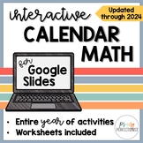 YEAR LONG Digital Calendar Math for GOOGLE Slides / Classroom - Grades 2, 3, 4