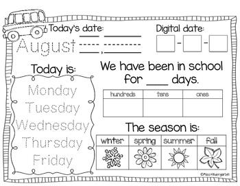 Interactive Calendar Notebook for Kindergarten