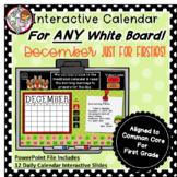 Interactive Calendar for First Grade -December - Works wit