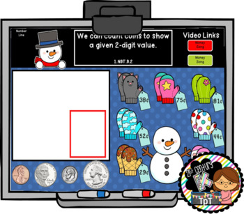 Interactive Calendar for First Grade -January - Works with ANY White Board!