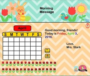 Interactive Calendar for SMART Board FIRST GRADE April-Themed