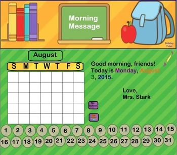 Interactive Calendar for SMART Board FIRST GRADE August-Themed