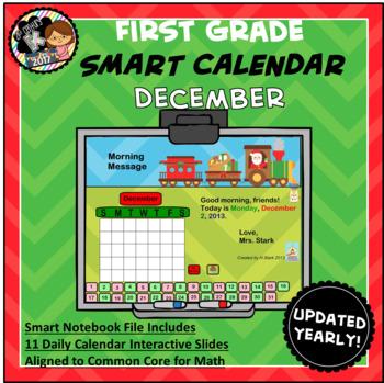 Interactive Calendar for SMART Board FIRST GRADE December-Themed
