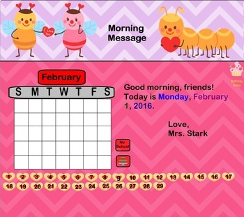 Interactive Calendar for SMART Board FIRST GRADE February-Themed