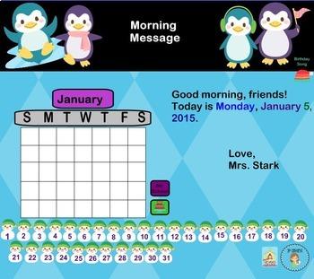 Interactive Calendar for SMART Board FIRST GRADE January-Themed