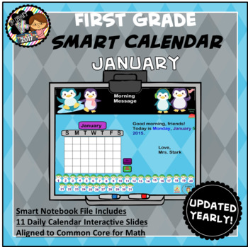 Interactive Calendar for SMART Board FIRST GRADE January-Themed