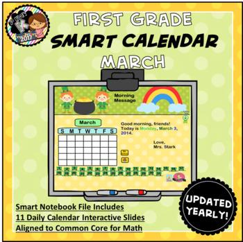 Interactive Calendar for SMART Board FIRST GRADE March-Themed