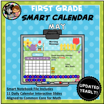 Interactive Calendar for SMART Board FIRST GRADE May-Themed