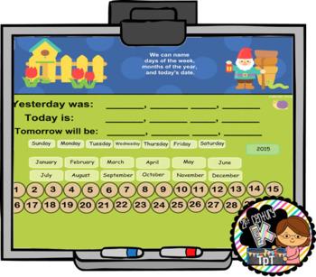 Interactive Calendar for SMART Board Kindergarten May-Themed
