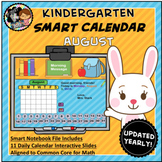 Interactive Calendar for SMART Board Kindergarten August-Themed