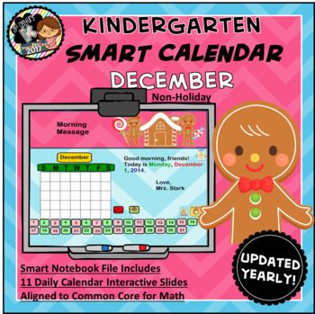 Interactive Calendar for SMART Board Kindergarten December (Gingerbread) -Themed
