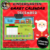 Interactive Calendar for SMART Board Kindergarten December-Themed