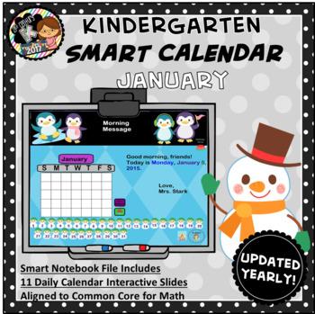 Interactive Calendar for SMART Board Kindergarten January-Themed
