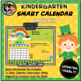Interactive Calendar for SMART Board Kindergarten March-Themed