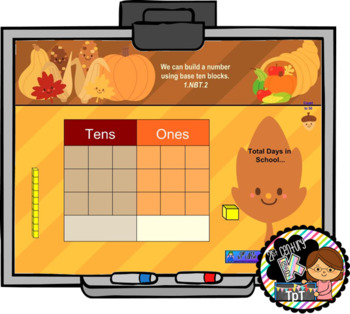 Interactive Calendar for SMART Board Kindergarten November-Themed