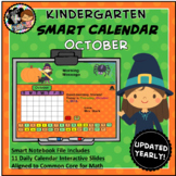 Interactive Calendar for SMART Board Kindergarten October-Themed