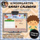 Interactive Calendar for SMART Board Kindergarten September-Themed