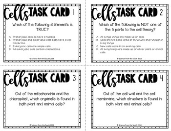 Interactive Cells Review Task Cards for Middle and High School Students