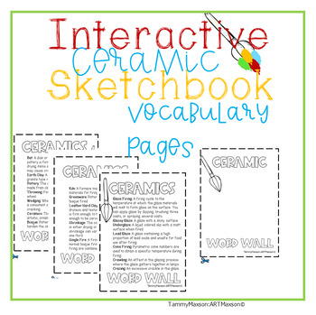 Interactive Ceramic Sketchbook: Vocabulary Pages