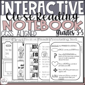 Interactive Close Reading Notebook ~Common Core Aligned~grades 2-4