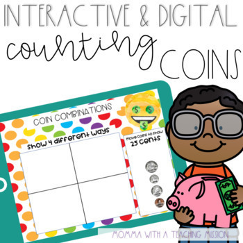 Interactive Coin Counting Combinations for Google Drive Classroom