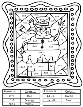 Interactive Winter Coloring Sheets + Basic Math Pop Art