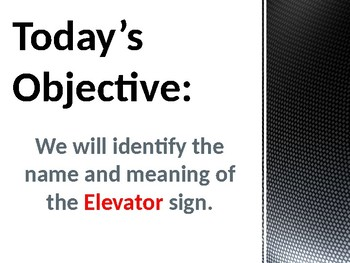 Interactive Community Safety Sign Ppt - Identifying the Elevator sign