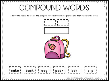Interactive Compound Word Building Word Work for Google Drive Classroom